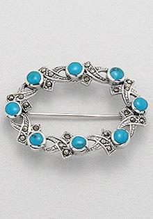 Brosa din argint cu marcasite si turcoaz albastru