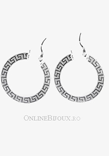 Cercei din argint cu creole plate, model grecesc