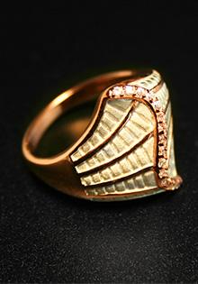 Inel din argint placat cu aur roz