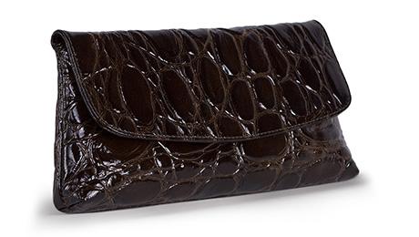 Plic maro model crocodil din piele naturala
