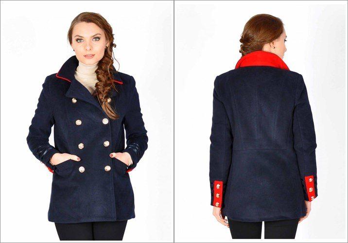 Palton dama bleumarin scurt cu garnitura rosie