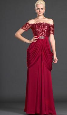 Rochie de seara voal cu dantela rosu inchis