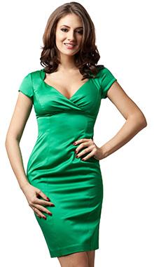 Rochie verde din satin gros