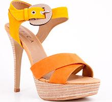 Sandale Epica orange cu toc