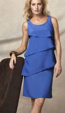 Rochie albastra simpla cu volane