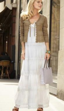 Rochie lunga alba tip jupon
