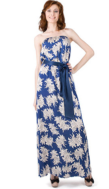 Rochie lunga albastra imprimeu floral