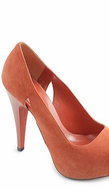 Pantofi orange din piele intoarsa