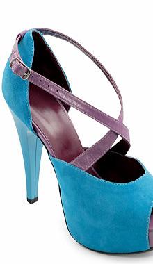 Pantofi turquoise din piele intoarsa