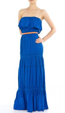 Rochie maxi albastra fara bretele