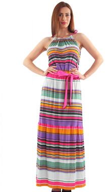 Rochie maxi multicolora cu cordon