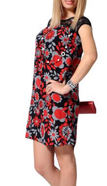 Rochie cu model floral rosu