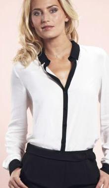 Camasa alb cu negru Votre Mode