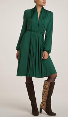 Rochie verde cu maneci lungi