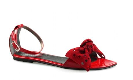 Sandale rosii cu talpa joasa