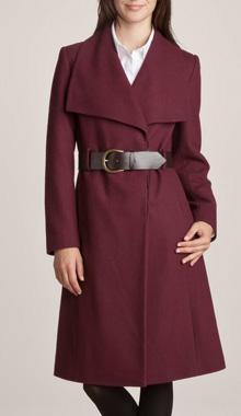 Palton cu curea si guler mare