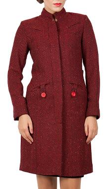 Palton din lana cu dungi rosii
