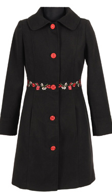 Palton negru broderie