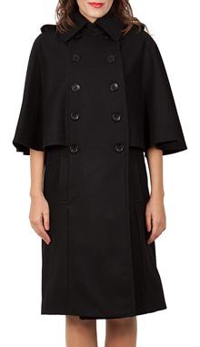 Palton negru cu maneci fluture