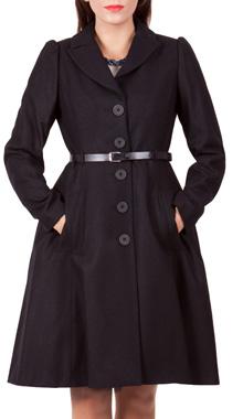 Palton negru din lana