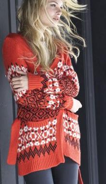 Jacheta lunga din jacard pentru femei