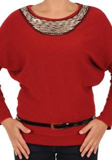 Pulover rosu tricotat