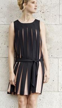 Rochie bicolora negru nude