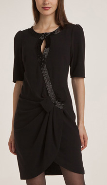 Rochie drapata cu maneci trei sferturi