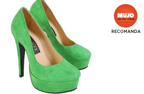 Pantofi de dama din piele de culoare verde