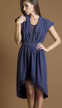 Rochie bleumarin cu insertii transparente