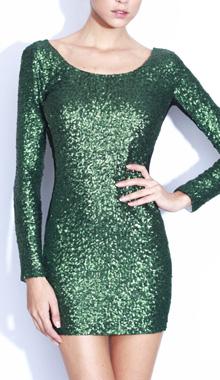 Rochie scurta verde din paiete