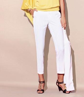 Pantaloni tigara alb crem pentru femei