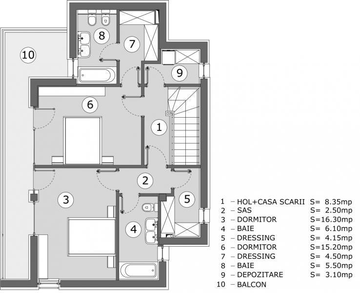 Casa Popa plan etaj