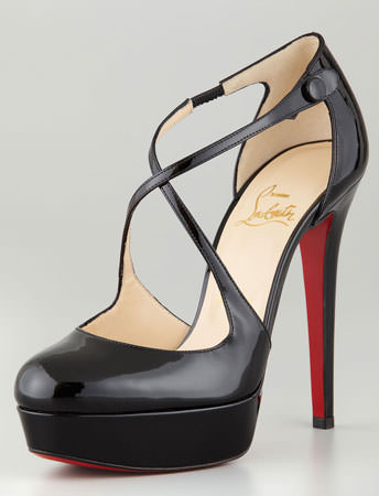 Borghese Patent Platform Red Sole Pump Christian Louboutin