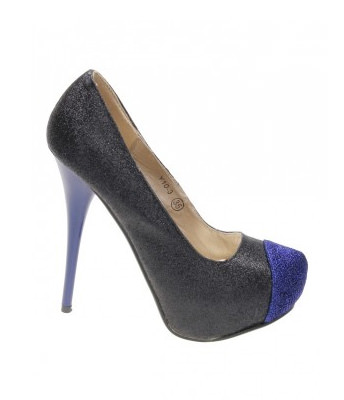 Pantofi black glitter