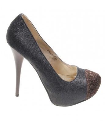 Pantofi gold glitter