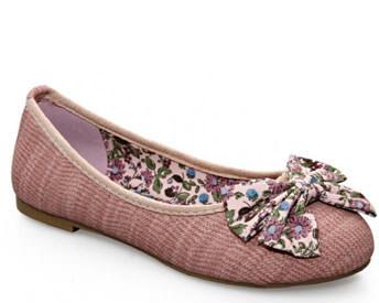Balerini roz cu funda inflorata