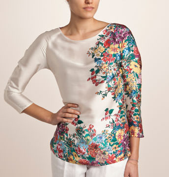 Bluza din satin cu imprimeu