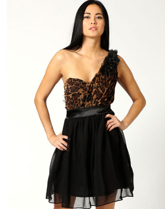 Rochie Pleated Corsage Animal One Shoulder