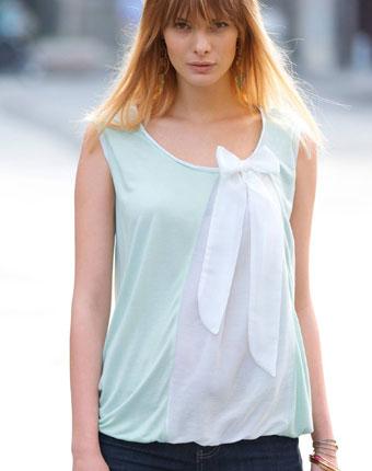 Bluza din doua materiale pentru femei