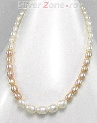 Colier perle piersic albe