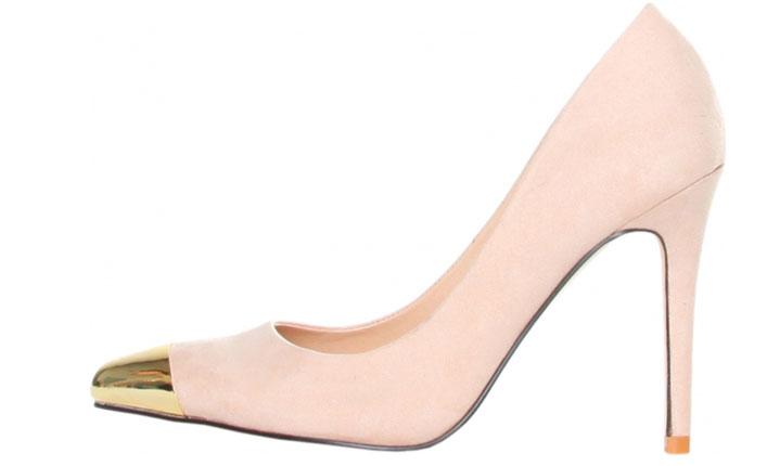 Pantofi bej cu varf metalic