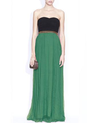 Rochie de ocazie verde cu negru