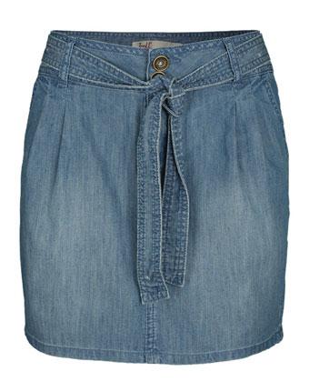 Fusta jeans cu cordon