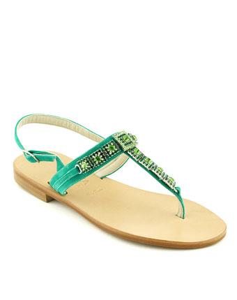 Sandale Trotta verde din piele naturala
