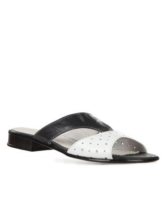 Papuci alb cu negru din piele naturala