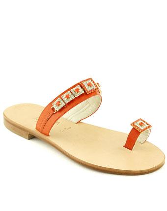 Papuci Trotta orange din piele naturala