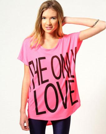 Tricou asimetric roz The Only Love