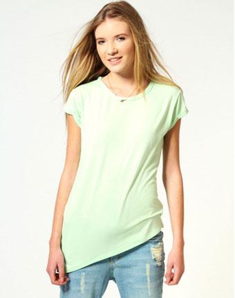 Tricou verde asimetric