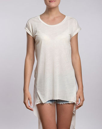 Tricou alb lung cu spate transparent